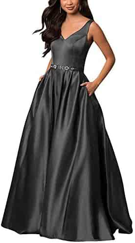 ba858f0cac0 Yinyyinhs Women s V Neck Prom Dresses A Line Long Beaded Evening Formal  Gowns with Pockets