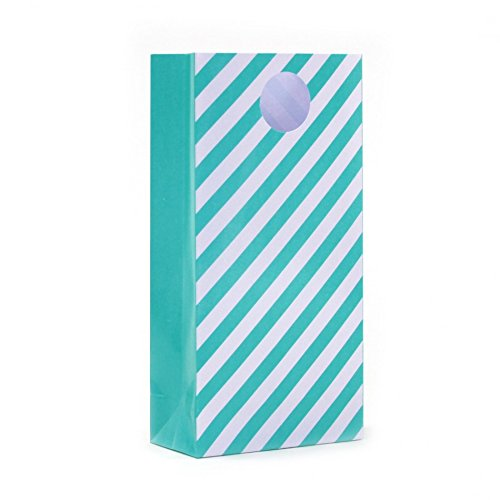 Dress My Cupcake 12-Pack Party Treat Bags, Striped, Diamond Blue