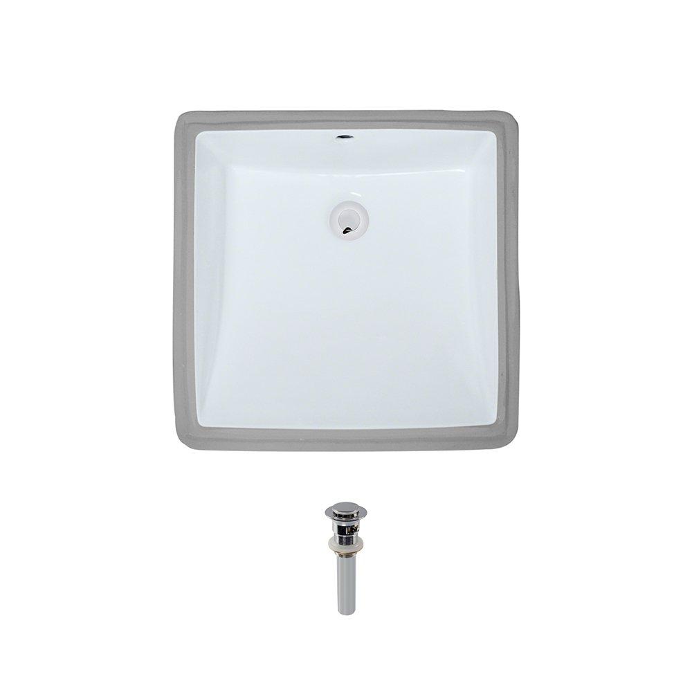 U2230-White Undermount Porcelain Bathroom Sink Ensemble, Chrome Pop-Up Drain
