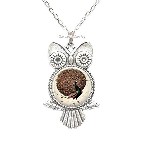 (Ni36uo0qitian0ozaap Peacock Bird Pendant Glass Pendant Owl Necklace Peacock Jewelry,Feather Jewelry-Bird Owl Necklace-Gifts for Her-Bird Pendant-Gift Ideas,TAP326)