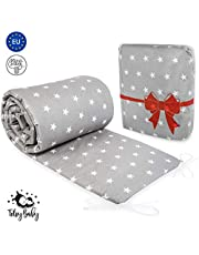 Cot Bumpers All Round Padded - Crib Bumper Set for Ttoddlers Baby Breathable 180 x 30 cm Gray with Stars Cotton