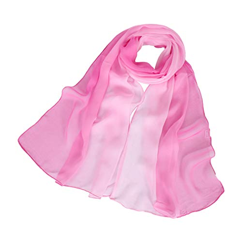 (LMVERNA Gradient Colors Scarves Georgette Silk Shawls Lightweight Sun Protection Long Scarf Wrap(Pink))