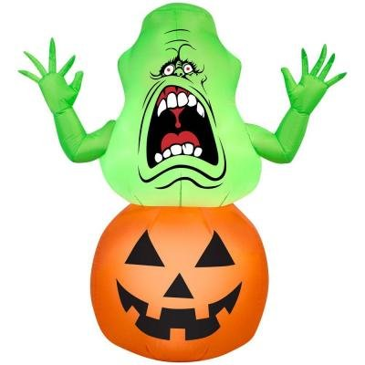Gemmy Airblown Inflatable Ghostbusters Slimer on Pumpkin - 3.5' Tall 4' Cedar Plug