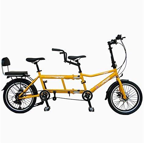SYLTL Tres Personas Bicicleta Tándem Doble Plegable Pareja Doble Paseo Bicicleta de Montaña Deportes Viajes Portátil ...