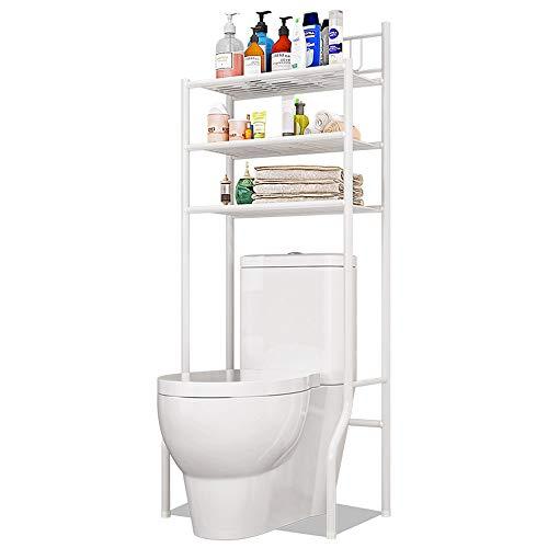 FKUO 3-Tier Bathroom Storage Rack Over The Toilet Storage Rack Finishing Shelf - White (White)