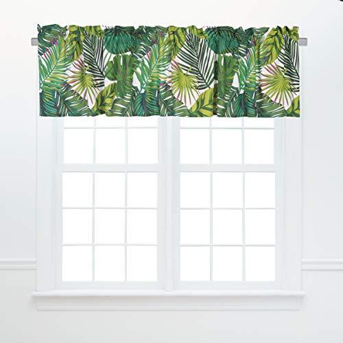 C&F Home Layla Green Floral Botanical Tropical Spring Summer Jungle Modern Cotton Bedroom Guestroom Premium Window Valance Valance Green -