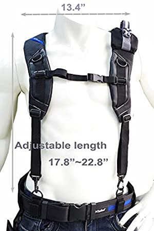 Niche Tool Belt Suspenders Flexible Adjustable Straps Comfortable Padded with 4 Belt Loops Included Fully Adjustable Harness for Construction Carpenter Electrician Work (Color: Tool Belts, Tamaño: Free)