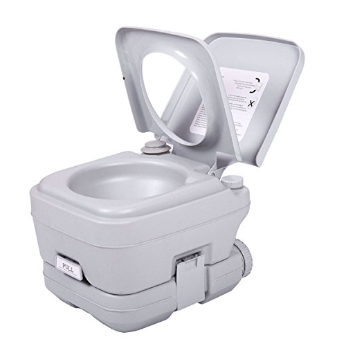 LAZYMOON Portable Toliet 2.8 Gallon 10L Outdoor Camping Toilet Potty Flush, - 2.8 Tank Holding Gallon