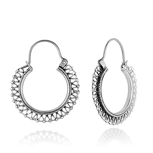 (925 Oxidized Sterling Silver Ethnic Tribal Filigree Indian Native Design Hoops Earrings 1.53