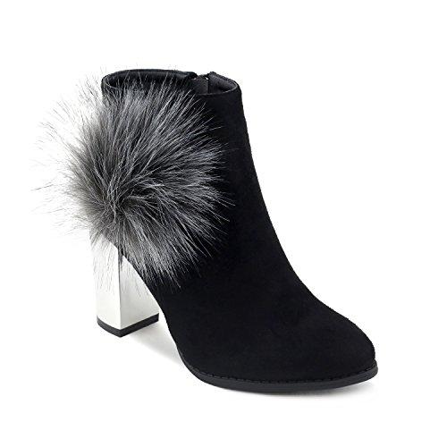 Olivia Miller Glendale' Slouchy Peep Toe Heel Ankle Booties WBOM 123 Oe Black - Outlet Glendale
