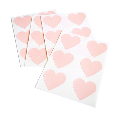 (Blush Pink Heart Stickers by Once Upon Supplies, Heart Shape Labels for Labeling and Decorating Wedding, Bridal Shower and Birthday Party Favors and Sealing Envelopes, 48 Stickers)