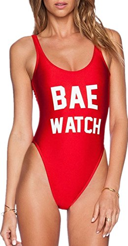 Women's Letter Print Backless One Piece Monokini Bikini,Red,Small]()