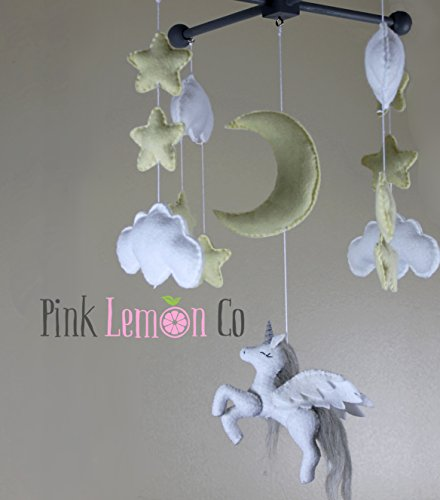 Unicorn baby mobile by Pinklemonco