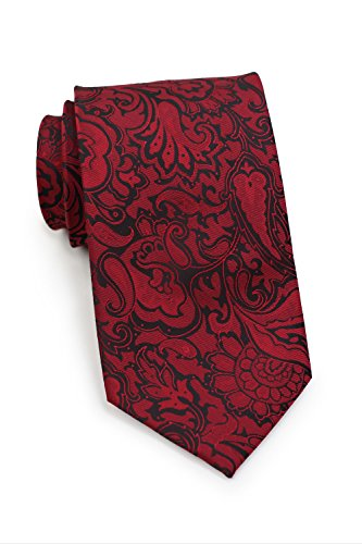 Bows-N-Ties Men's Necktie Vibrant Paisley Microfiber Satin Tie 3.25 Inches (Port Wine Red)