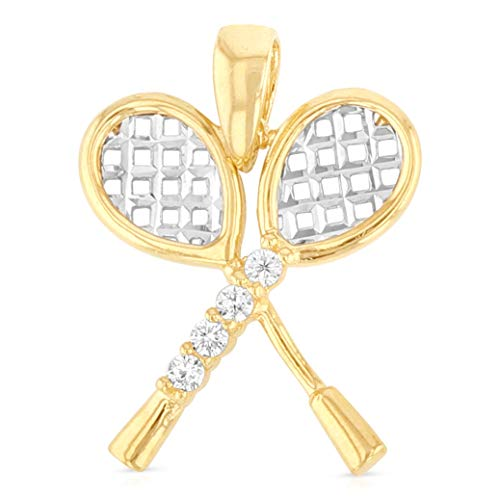 (Ioka - 14K Two Tone Gold Tennis Racket Charm Pendant For Necklace or Chain)