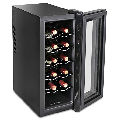 SUPER DEAL Newest 12-Bottle Thermoelectric Wine Cooler Red White Wine Champagne Chiller Counter Top Wine Cellar – Touch Screen Display – Digital Temperature Control – LED Interior Lighting – Quiet and