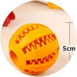 shine-hearty Rubber Ball Toy Pet Dog Toys Elasticity Ball Pet Chew Toys for Dog Cleaning Tooth Clean Ball Food,Orange,5cm in Diameter