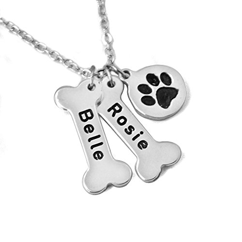 Personalized Dog Necklace,Customize pet names collor,Dog Bone & Paw Print Charm Necklace.Gift for Your Lover Pet.