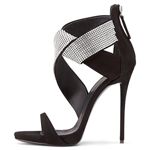 Amy Q Elegant Women's Heeled Sandal with Crystal Bands High Heel Shoes Black 8YoAl