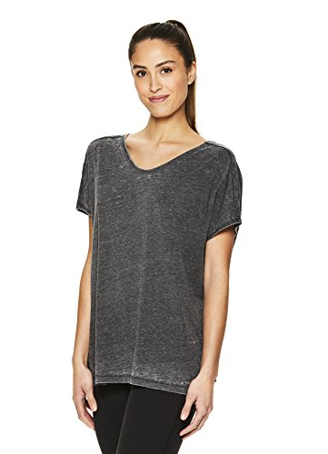 Gaiam Women's Open Back Yoga T Shirt - Relaxed Fit Short Sleeve Workout & Training Top - Black (Tap Shoe), 1X
