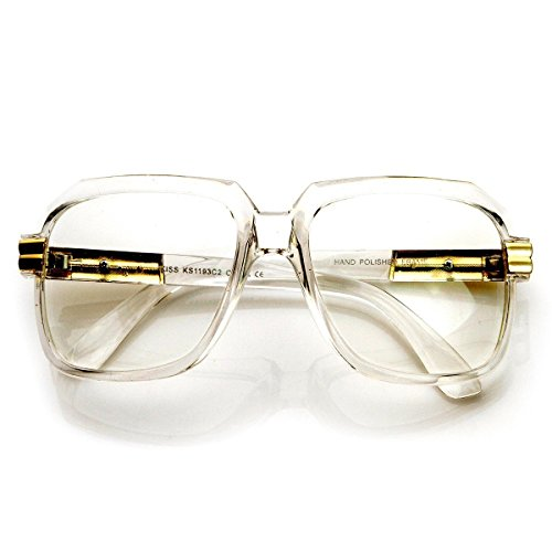 13e41c5f4183 AStyles - Run DMC Style Old School Oversized Rectangular Squared Hip Hop  Nerdy Clear Lens Glasses (Clear