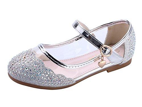 miaoshop Kids Flat Shoes Mary Jane Casual Slip On Ballerina Girls Glass Glitter Shoes (11 M Little Kid, (Casual Ballerina Flats)