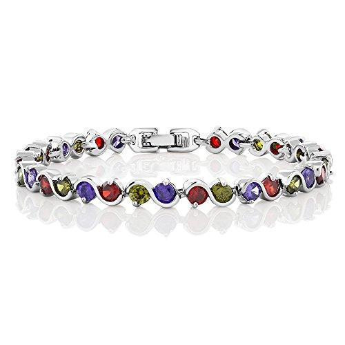 Gem Stone King 15.00 Ct Round Multicolor Cubic Zirconias CZ Tennis Bracelet 7 Inch