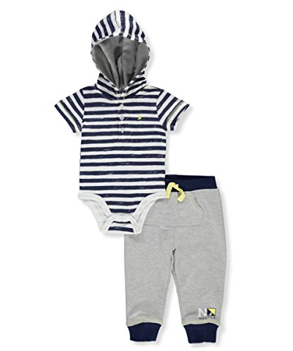 Nautica Baby Boys Hooded Bodysuit With Pants, Navy/Gray, 6-9 Months