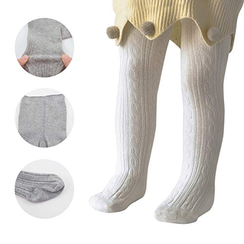 Zando Baby Girls Tights Soft Cable Knit Cotton Leggings For Baby Big Girls Toddler Seamless Socks Infant Pants Stockings White S/0-6 ()