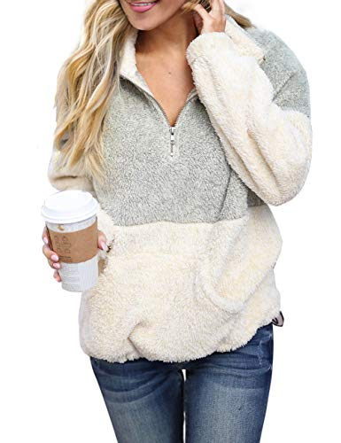 MEROKEETY Women's Long Sleeve Contrast Color Zipper Sherpa Pile Pullover Tops Fleece with Pocket Light Grey