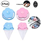 Flower-Type Washing Machine Floating Lint Mesh Bag Hair Filter Net Pouch, Floating Washing Machine Filter Washer Lint Trap (2Pack(Pink)+2Pack(Blue))