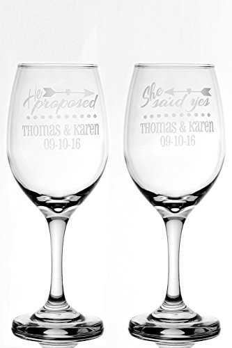 Engagement Engaged Wine Glass Gift Set - He Proposed She Said Yes