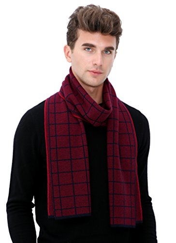 Knitted Check Scarf - Ellettee, Check Red 100% Australian Wool Men Scarf Classic Premium Luxurious Knitted Long Neckwear Elegant Stripe Plaid Scarves