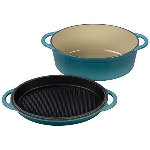 Le Creuset Cast Iron Oval Oven with Reversible Grill Pan Lid, 4 3/4 quart, Caribbean by Le Creuset
