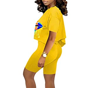 RAMOUG Women's 2 Piece Lips Outfits Off Shoulder Crop Top Shorts Sets Tracksuits