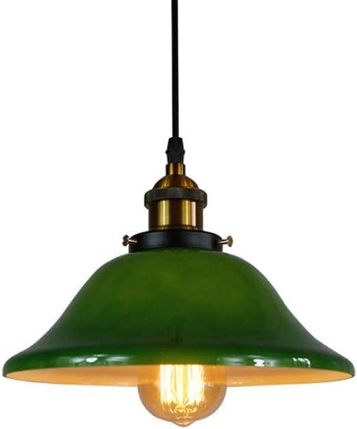 Lampadario in ferro battuto in vetro verde lampadario industriale nordico retr/ò camera da letto lampada da comodino caffetteria ristorante decorazione della tavola lampada a soffitto lampadario