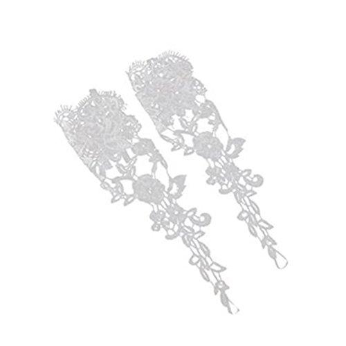 クラウンフリース十二ROSENICE 指なし手袋 ブライダル レース装飾 ラインストーン 結婚式(ホワイト)