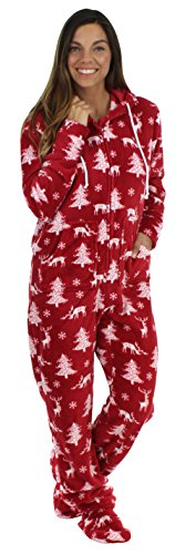 SleepytimePjs Women's Fleece Onesie Hooded Footed Pajamas Cranberry Deer (ST17-W-3027-MED)