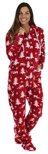 SleepytimePjs Women's Sleepwear Fleece Hooded Footed Onesie Pajamas Cranberry Deer - Christmas Cranberry
