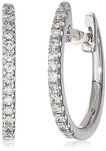 Helzberg Diamonds 14K White Gold 1/10 cttw Diamond (H-I, I1-I2) Micro Huggie Hoop Earrings
