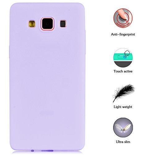 3x Funda Samsung Galaxy A5 2015, Yokata Silicona TPU Pluma Ultra Delgado Ligero Elegante Suave Mate Carcasa Trasera Fantasía Caprichoso Kawaii Adorable Diseño Flexible Case Bumper Resistente a los Ara Candy Púrpura