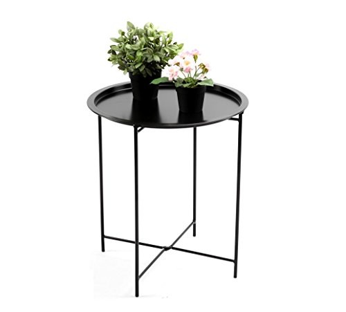finnhomy small round side end table sofa table tray side table snack table metal anti rusty. Black Bedroom Furniture Sets. Home Design Ideas