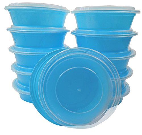 TTG 20-Pack Round Bento Lunch Boxes with Lids (1 Compartment/ 24 oz) | Microwaveable, Dishwasher & Freezer Safe Meal Prep Containers | Reusable Dish Set for Prepping, Portion Control & More (Blue)