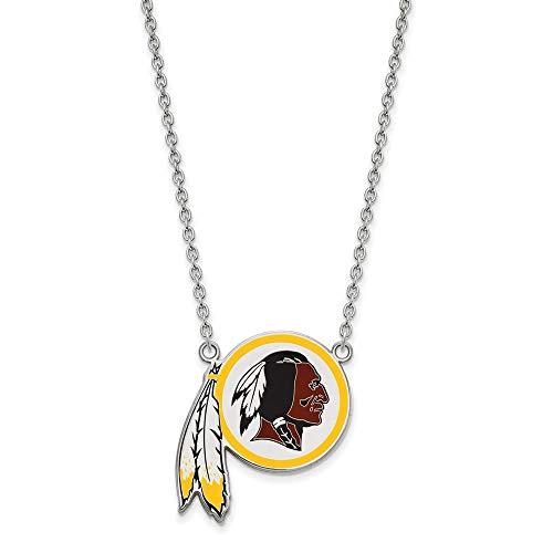 NFL Sterling Silver Washington Redskins Large Enamel Pendant with Necklace ()