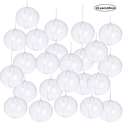 (Yeelan Clear Plastic Acrylic Fillable Ball Ornament Set (60mm 24pcs) )