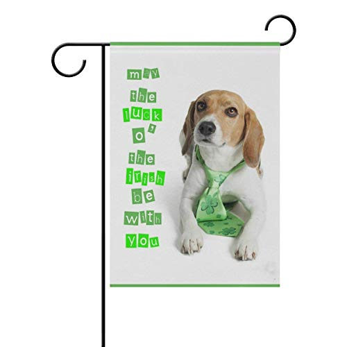 Johnnie Dog St. Patrick's Day Shamrock Quote Garden Flag 12 X 18 Inches, Double Sided Seasonal Outdoor Flag and Best for Party Yard Home Decor ()