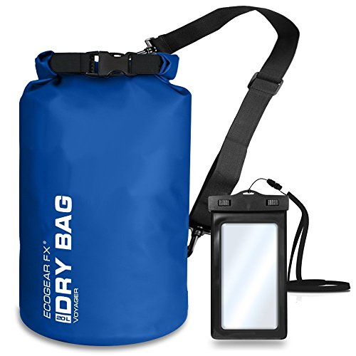 EcoGear FX Heavy Duty Waterproof Dry Bag Voyager Series - Durable Roll Top Compression Bag -Kayaking, Rafting, Boating, Hiking, Fishing, Camping and Outdoors - Phone Case Included - 20L