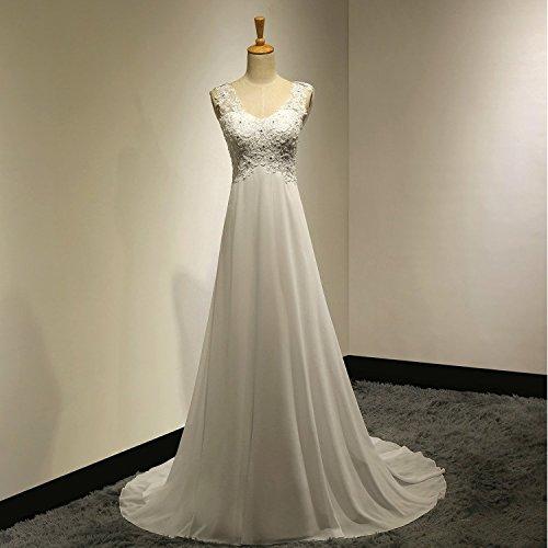 Long Dresses White and Ivory Ivory Wedding Abaowedding Chiffon SEqdYSxO