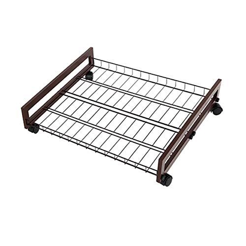 ire Shelf Underbed Shoe Organizer Rack - 1 Tier, Under The Bed Metal Wood Shoe Rack, Under Hanging Clothes ()