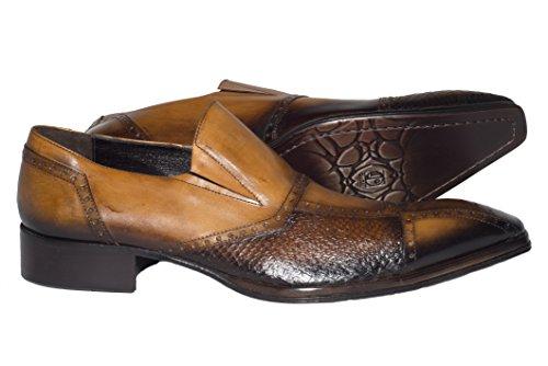 Jo Ghost 4130 M Italian Slip Para Hombre De Cuero De Cognac En Los Zapatos Con Diseño